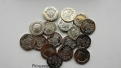 Selection Of 1982-2014 Uncirculated 20P Twenty Pence Coin Collection