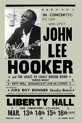 Blues Master: John Lee Hooker at The Liberty Hall Theatre Concert Poster 1975