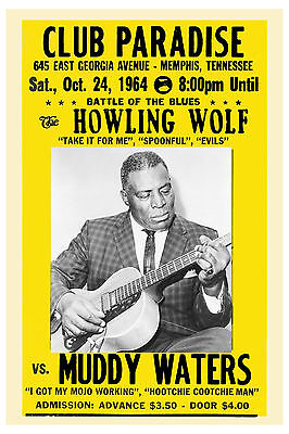 Blues Master: Howling Wolf vs. Muddy Waters Paradise Theatre Concert Poster 1964