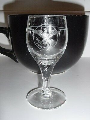 SS UNITED STATES LINES  Insignia Codial Stemware Glass  /  Perfect Condition