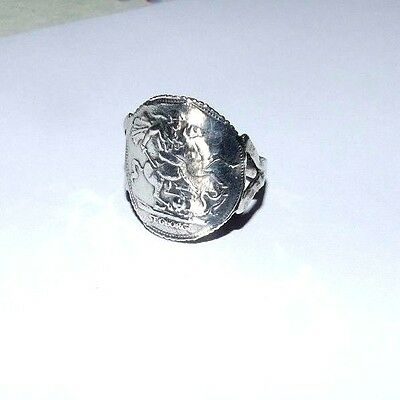 Vintage Sterling Silver Ring With George And The Dragon. St George. Hallmarked.