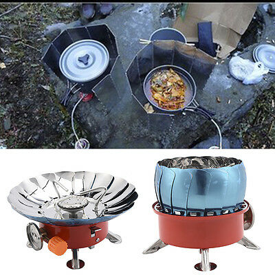 Foldable Lotus Flower Mini Camping Outdoor Picnic Stainless Steel Gas Stove Hot