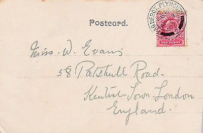 Uncommon 1907 Gb Ship Mail Postcard With Paquebot Plymouth 2 Dated Cancel 21*