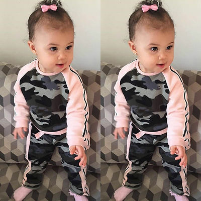 Fashion Toddler Baby Kid Girls Clothes Tops T-shirt Camouflage Pants Outfits Set