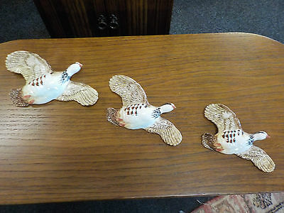 Vintage Beswick Set Of 3 Partridges Wall Plaque Flying Partridges ( Birds ) 1188