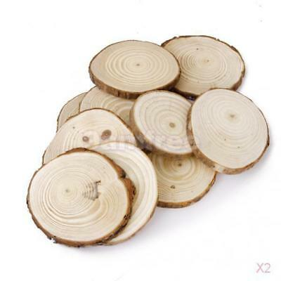 20 Wooden Wood Log Slices Natural Tree Bark Decorative Disc Woodworking Tree