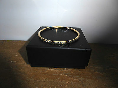 Solid 9 Carat Y Gold, 4mm x 65mm, Silver Filled, Fancy Dicut Bangle, BN IN BOX