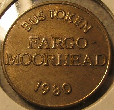 1980 Fargo-Moorhead Fargo, ND Transit Bus Token - North Dakota