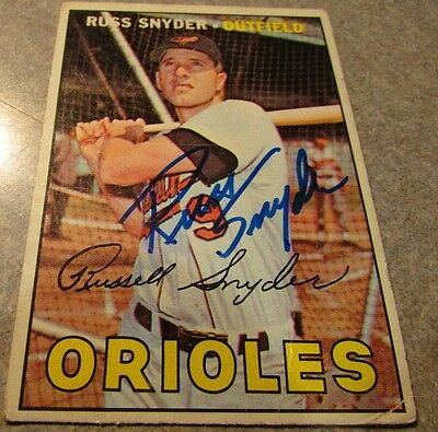 Russ Snyder Signed Autographed 1967 Topps #405 - Baltimore Orioles Maryland MD
