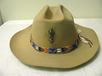 Vtg Tan Royal Stetson Lundstrom MFT Hat w Native American Beadwork Nuggets Owl 7