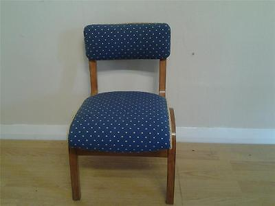 Retro beech & bent ply child 's school chair uphholstered blue