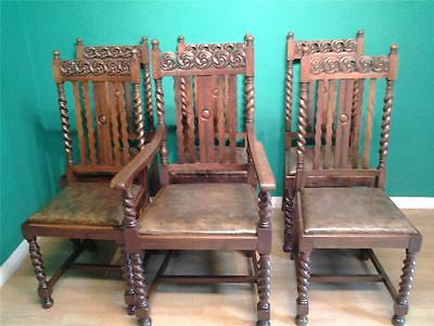 Set of six 6 vintage oak barleytwist barley twist dining chairs carved  detail