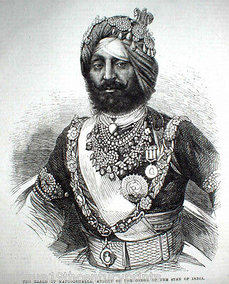 The Rajah Of Kapoorthalla Rare Sikh India Engraving Print - Year 1864  L@@k