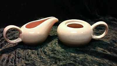 Vintage Russell Wright Steubenville Mid Cent. Cream And Sugar Cantaloupe Coral