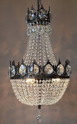 Purse Antique French Vintage Crystal Chandelier Lamp Home Old Ceiling Lighting