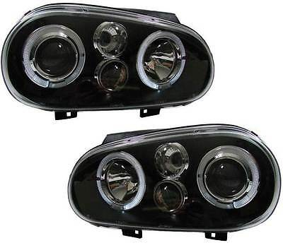 Volkswagen Golf Mk4  1998-2004 Black Angel Eyes Headlights Pair