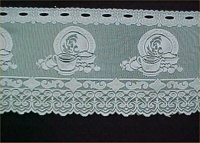 """Vintage Estate Buy Curtain Valance Heritage Lace White Cups Saucers 13x62"""""""