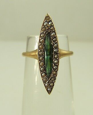 Victorian 9K Yellow Gold Marquise Cut Tourmaline Seed Pearl Ring Antique