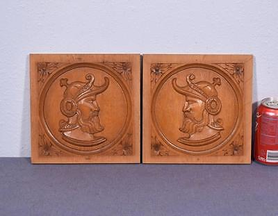 "*Pair of 8"" Vintage French Carved Architectural Panels in Solid Oak with Men"
