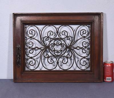 *French Antique Walnut Wood Door with Wrought Iron Panel Salvage 2