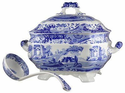 Spode Blue Italian Soup Tureen & Ladle Brand New in Box