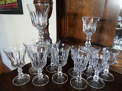 Vintage Rcr Royal Rock Crystal 6 X Small Wine Glasses & 6 X Sherry Glasses Set