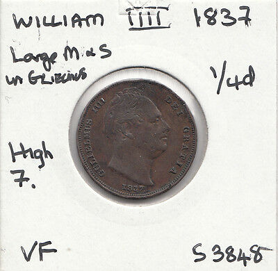 1837 William 1111 Farthing S3848 With Many Errors See Description