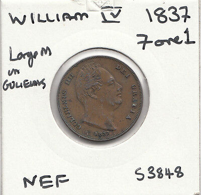 """1837 William 1111 Farthing S3848 """"nef"""" And Rare With Many Errors See Desc"""