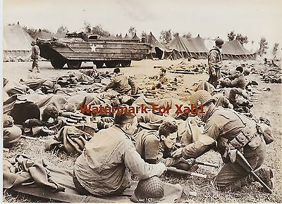 WW2 1944 Press Photo Wounded Americans at Field Hospital in Normandy France