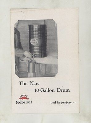 1920's Mobiloil 10 Gallon Automobile Oil Drum Brochure ww3543
