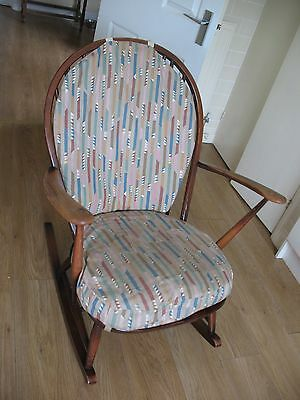 Rare old vintage retro Ercol model 316 grandfather rocking chair with seat pads