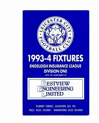 Leicester City 1993-1994  Fixture Card POST FREE