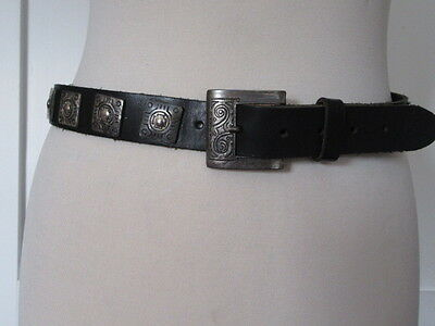 Vintage 80's Black  Leather Belt Heavy Engraved Oxidized Silver Tone Studs 10-12