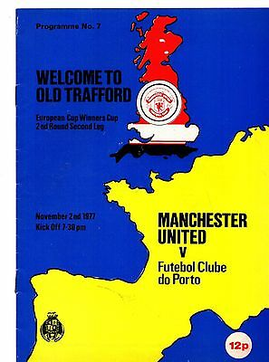 1977-1978 Manchester United v FC Porto European Cup Winners Cup  POST FREE