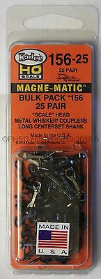 HO Scale - KADEE # 156-25 MAGNE-MATIC Bulk Pack - 25 Pair Scale Head Couplers