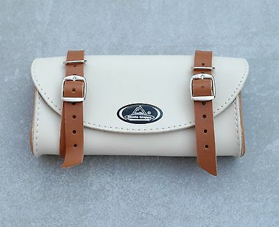 Satchel vintage bike in leatherette beige claire for selle kit toolbox