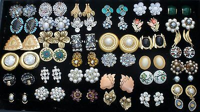 Vintage Lot 37 Pair of Clip Earrings Cluster Crystals Weiss Trifari Giovanni