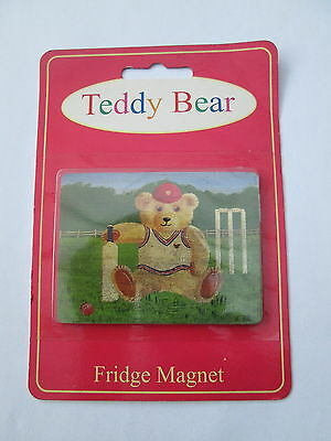 Teddy Bear Fridge Magnet- Cricket Teddy - New