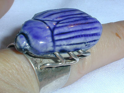 Fabulous! Rare Large Sterling Egyptian Paste Scarab Bug Ring- Size 8!