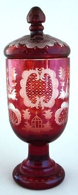 Ruby Cut To Clear Lidded Jar Egermann Bohemian Art Glass