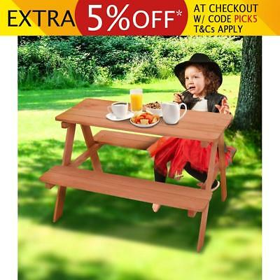 Kids Size Fir Wood Wooden Picnic Table BBQ Outdoor Playing Chairs Set Children