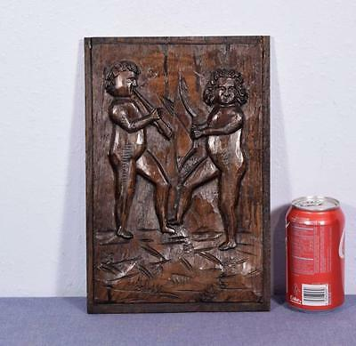 *French Hand Carved Antique Chestnut Wood Panel of Two Figures