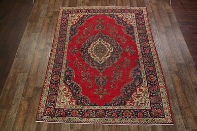 Antique Geometric 8x11 Red Tabriz Persian Oriental Area Rug Wool Carpet