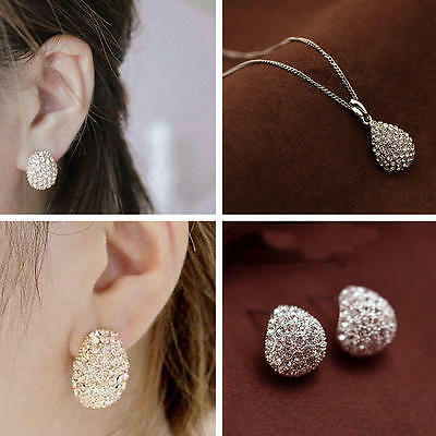 Fashion Lady Silver Gold Plated Crystal Rhinestone Necklace Earrings Jewelry Set
