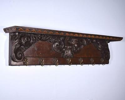 "*51"" Antique French Oak Coat Rack Hall Tree Wood Shelf Highly Carved w/Angel"