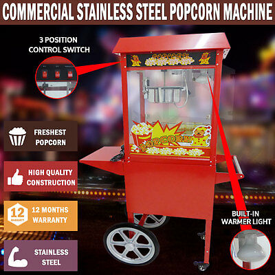 NEW 1370W Commercial Stainless Steel 8oz Popcorn Machine Cooker Tempered Glass