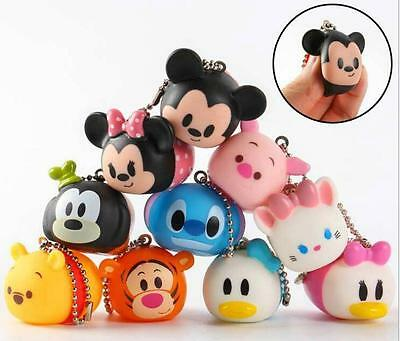 1set 10pcs tsum mickey mix DIY figures Bag Pendant strap Charms sounding toy 3cm