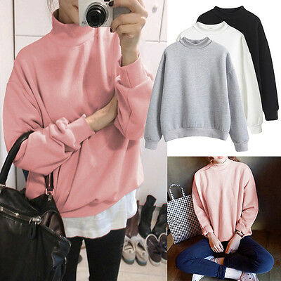 Women Long Sleeve Solid Color Sweater Pullover Hoodie Jumper Top T-Shirt Coat
