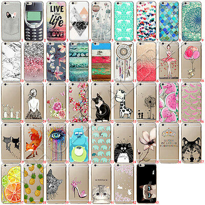 Clear Etui Housse Coque Soft TPU Silicone Back Case Cover For iPhone 7 6/s Plus