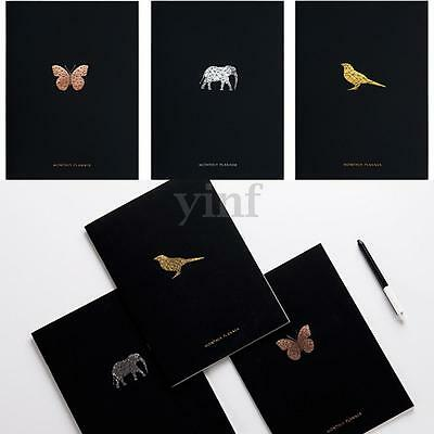 2017 A4 PU Leather Monthly Schedule Planner Notebook Gild Animal Diary Journal